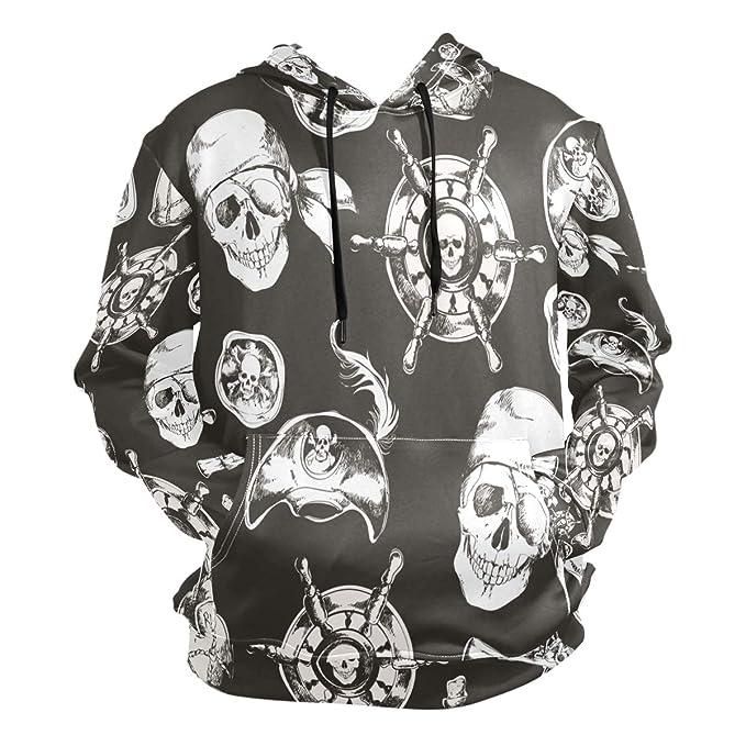 805879c4c24c Amazon.com  Rudder Skull Pirate Hoodie 3D Sweatshirts Hooded ...
