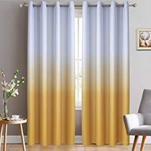 Yakamok Room Darkening Gradient Color Ombre Blackout Curtains Thermal Insulated Grommet Window Drapes for Living Room/Bedroom (Mustard Yellow, 2 Panels, 52x84 Inch)