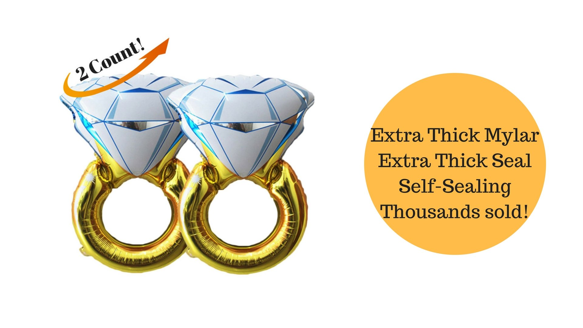 Set of 2 Giant 45'' Diamond Engagement Ring Mylar Balloons for Proposal Vow Renewal Valentine's Day Bridal Shower Wedding Bachelorette Parties Decoration. Huge Bling Favor. Extra Large Party Statement. by BlankIt! Concepts (Image #2)