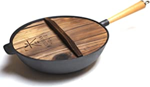"""Kasian House Cast Iron Wok with Wooden Handle and Lid, Pre-Seasoned, 12"""" Diameter Chinese Wok with Flat Bottom, Heavy Duty Stir Fry Pan"""