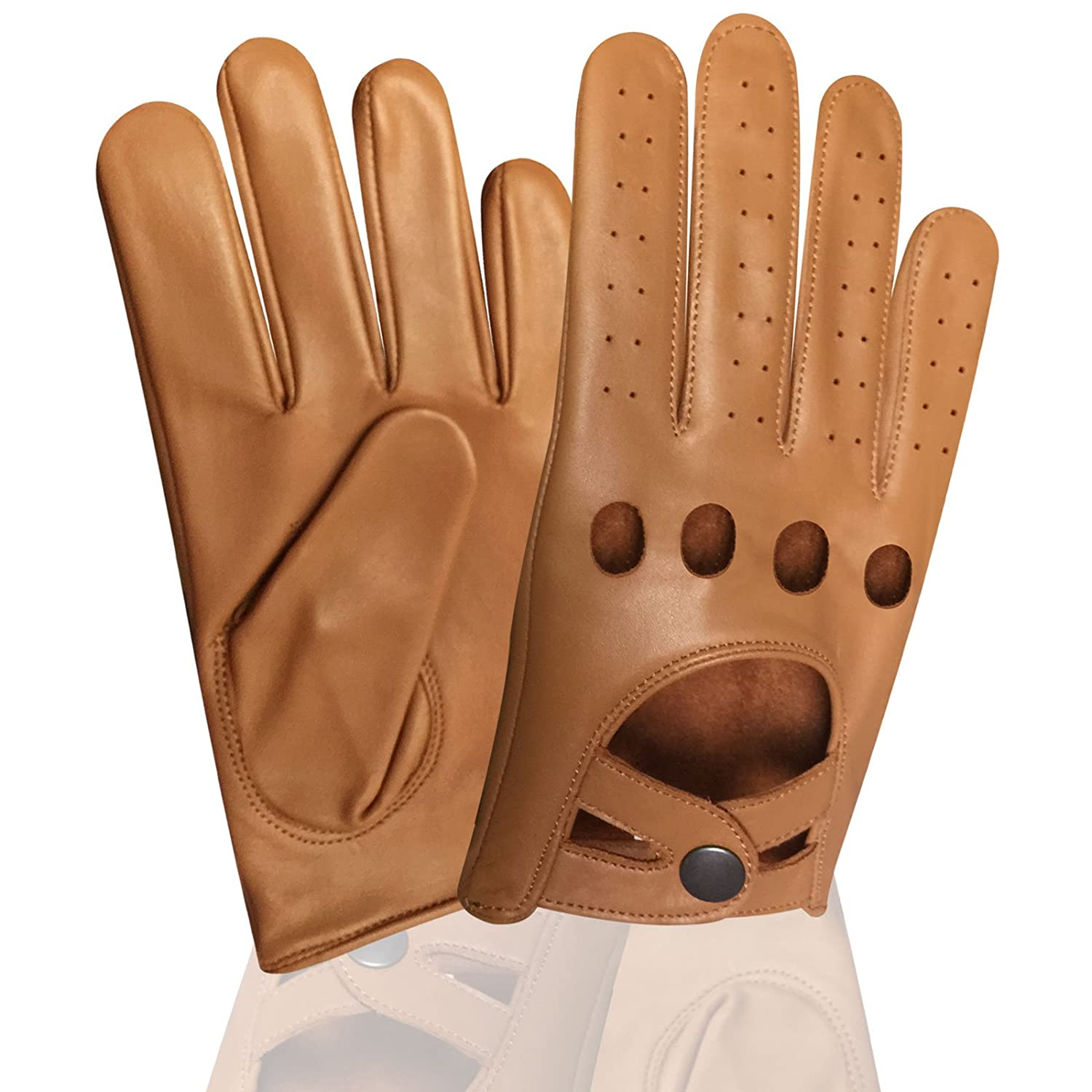 REAL SOFT LEATHER MEN'S UNLINED KNUCKLE HOLES DRIVING TAN GLOVES D-511 Daiko