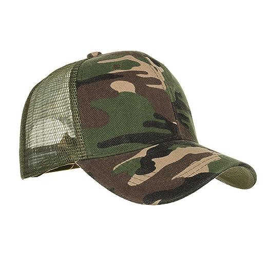Summer Camouflage Cap Men and Women Snapback Trucker Baseball Cap Outdoor  Sports Mesh Hat (Army 5ce27024f4c6