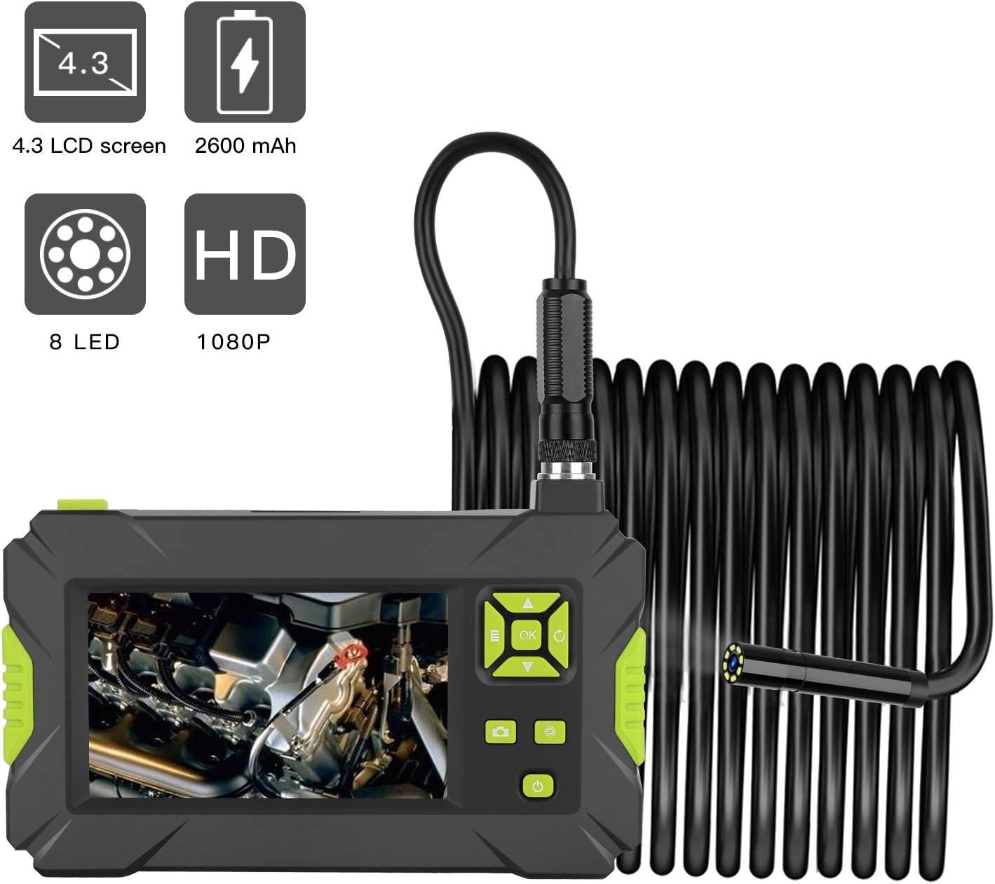 WOGQX 1080P HD Industrielles Endoskop 4.3In Bildschirm 8MM Durchmesser Endoskop 2600Mah Batterie Serpentine Kamera Inspektionskamera IP67 Wasserdicht Reparatur Schlangenkamera 6.56//16.4//32.8FT,2m
