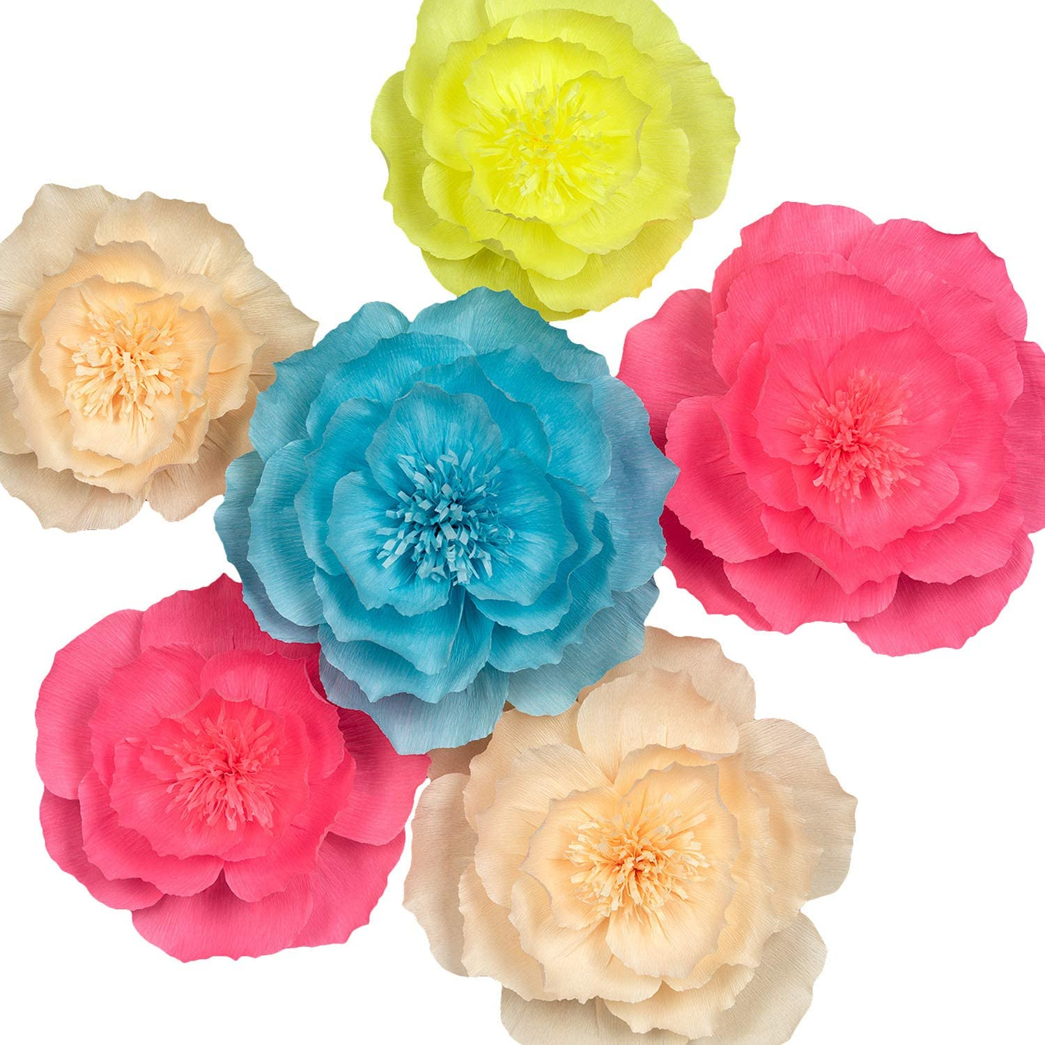 Paper Flower Decorations, Large Crepe Paper Flowers, Handcrafted Flowers, Giant Paper Flowers (Pink, Blue, Yellow, Champagne Set of 6) for Wedding, Bridal Shower, Baby Shower, Nursery Wall Decor