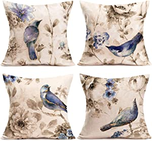 ShareJ Throw Pillow Covers Vintage Watercolor Ink Bluebird Flowers Birds Nature Blossom Bouquet Design Cotton Linen Pillowcase Square 18 x 18 Inches Home Decor Pillow Cases, Set of 4