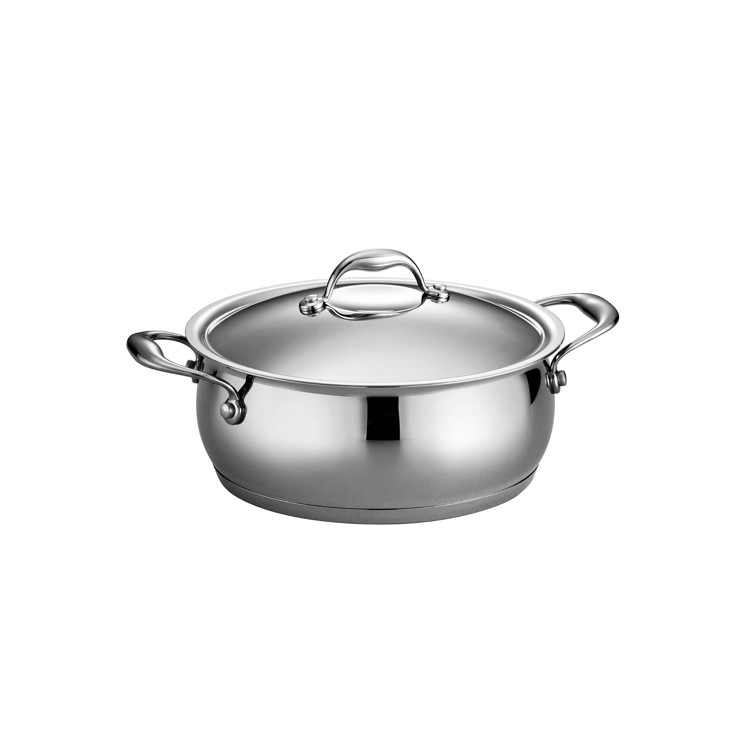 Tramontina 80102/008DS Gourmet Domus Stainless Steel, Induction-Ready, Impact-Bonded, Tri-Ply Base Covered Dutch Oven, 5 Quart, Made in Brazil