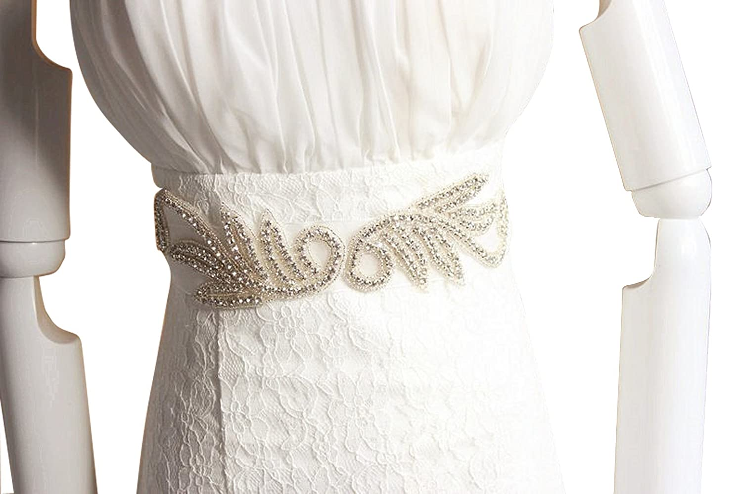 E-Clover Crystal Beaded Wedding Belt Rhinestones Bridal Sash for Dress