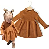 Dourbesty Toddler Baby Girls Dresses Knitted Long Sleeve Front Pocket Dress Sweater Fall Winter Clothes 1-5t