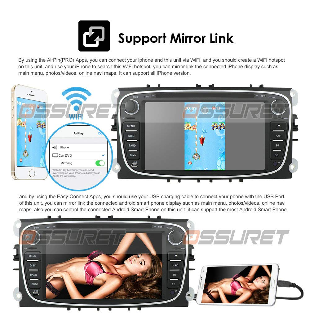 4G SWC DVR OBD2 Dab Negro Android 10 Car GPS Navigation Bluetooth 2 DIN Car Multimedia System con Pantalla t/áctil de 7 Pulgadas para Ford C-MAX Connect Fiesta Soporte Mirror Link WiFi