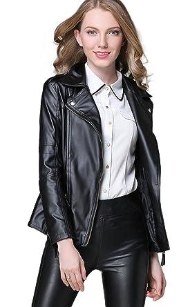 fb3a3b812 Chartou Women s Designer Lapel Motorcycle Vegan Leather Jacket Coat ...