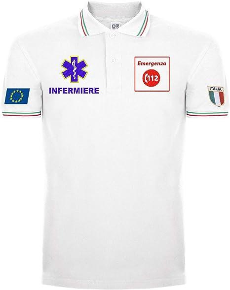 Bianco Generico Polo 112 Nue Emergenza Infermiere 100/% Cotone Tutti i Loghi Ricamati