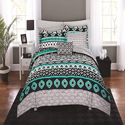 Amazoncom N2 8 Piece Grey Bright Teal Aztec Comforter Set Full