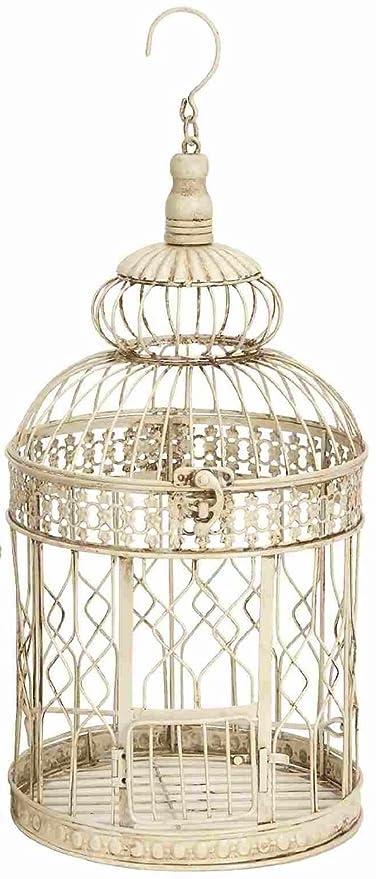 Metal para colgar de pie jaula de pájaros, blanco envejecido ...