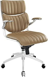 Modway Escape Ribbed Faux Leather Ergonomic Computer Desk Office Chair in Tan