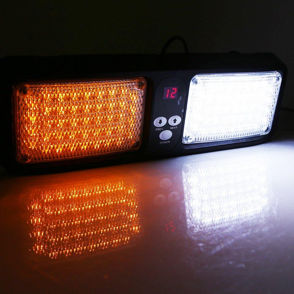 VGEBY 12V Feux Stroboscope 86 LED Lumiè re Strobe Urgence D'alarme sur Brise-soleil Voiture - 7 Couleurs ( Couleur : Amber+White )