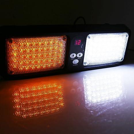Amazon.com  Car 12V 86 LED Sun Visor Strobe Flash Light Emergency Hazard  Warning Lamp Strobe Lights ( Color   Amber+White )  Automotive 5c40e36aacf