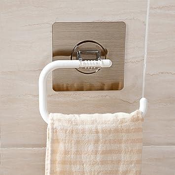 Toalleros de barra Ventosa toallero Estante de la Cocina Baño Estante El Cuarto de baño Estante de Toalla-Blanco 13.14cm(5inch): Amazon.es: Hogar