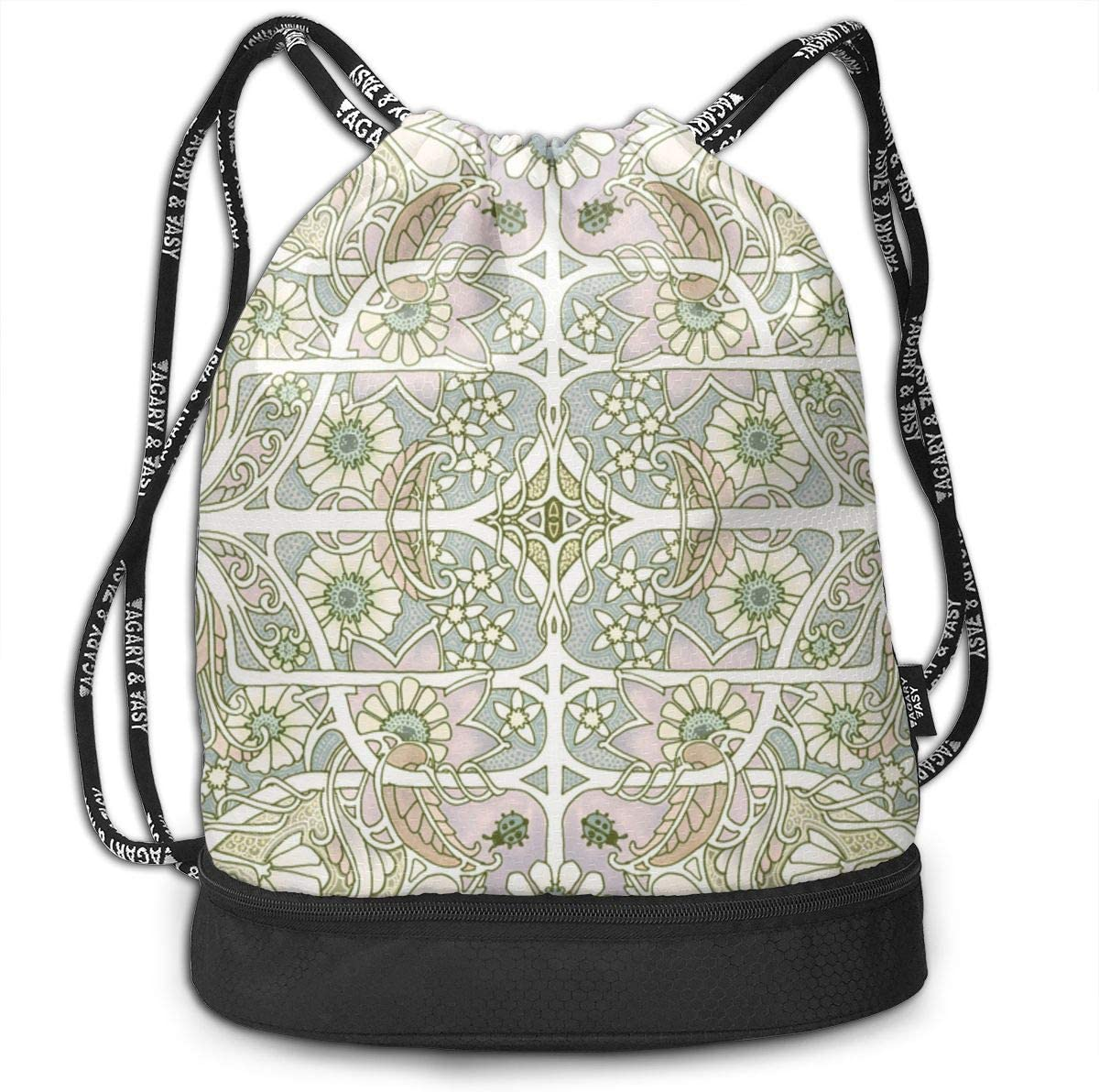 Big Garden Whispers Drawstring Backpack Sports Athletic Gym Cinch Sack String Storage Bags for Hiking Travel Beach