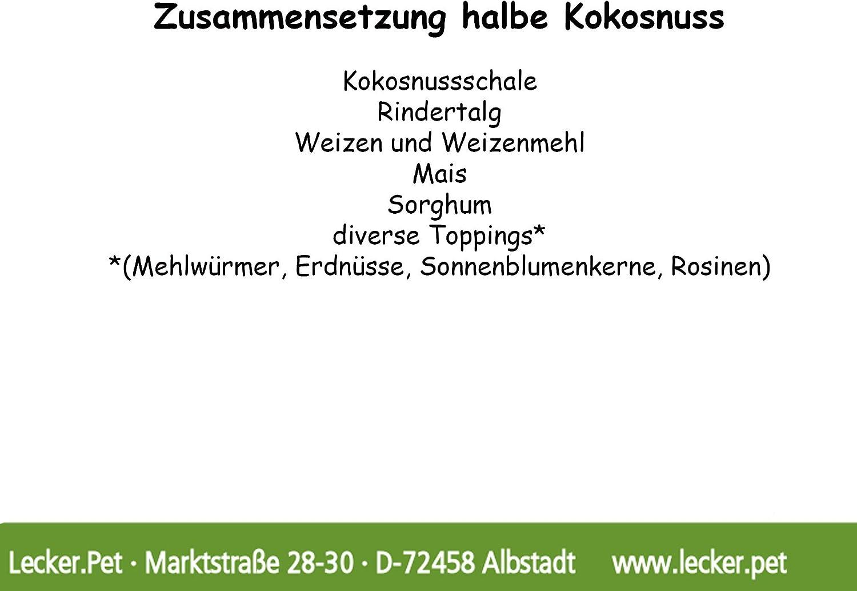 Lecker.Pet/® 10 St/ück halbe Kokosnuss gef/üllt Vogelfutter Winter Wildv/ögel Meisen