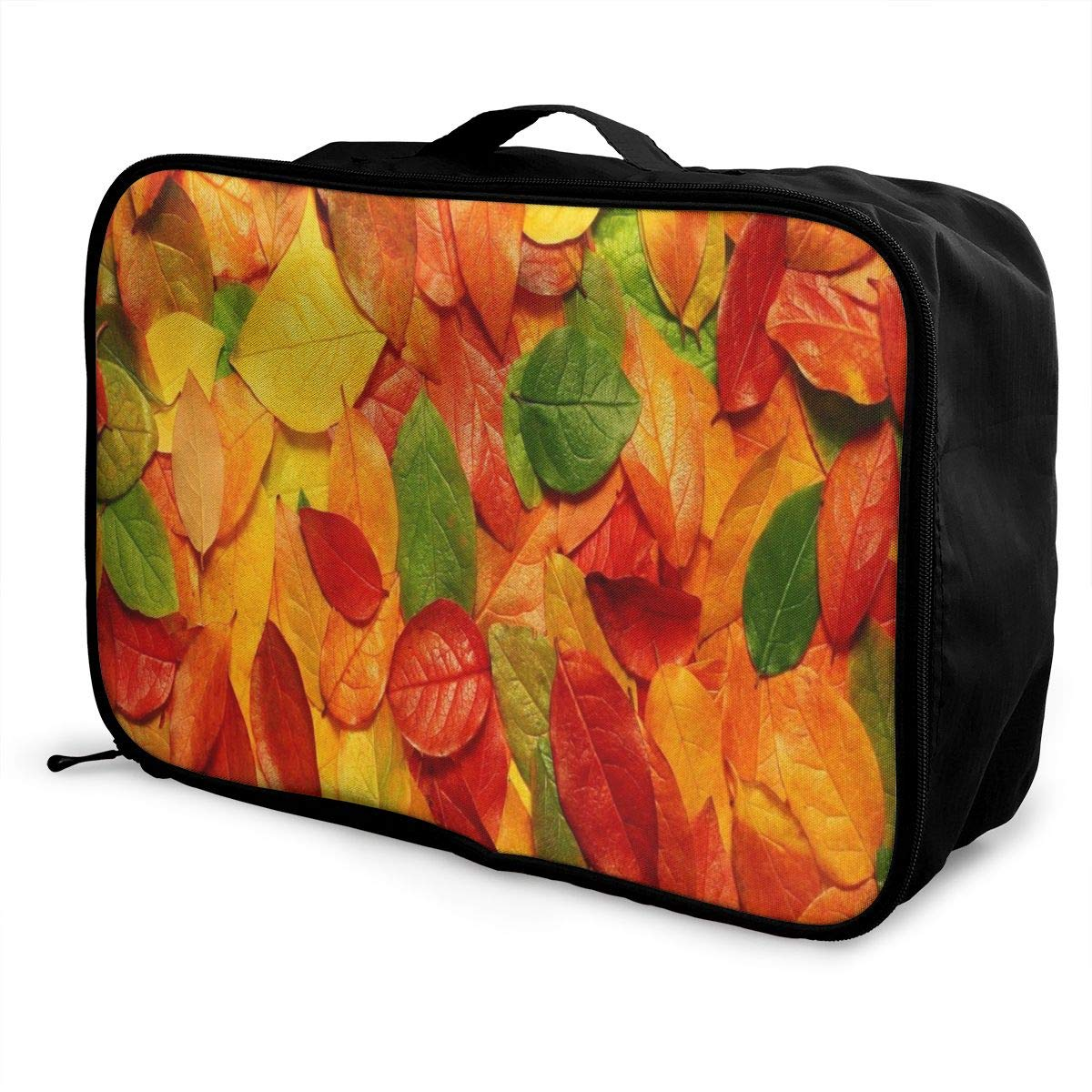 Lightweight Large Capacity Portable Luggage Bag Cute Autumn Leaves Travel Waterproof Foldable Storage Carry Tote Bag