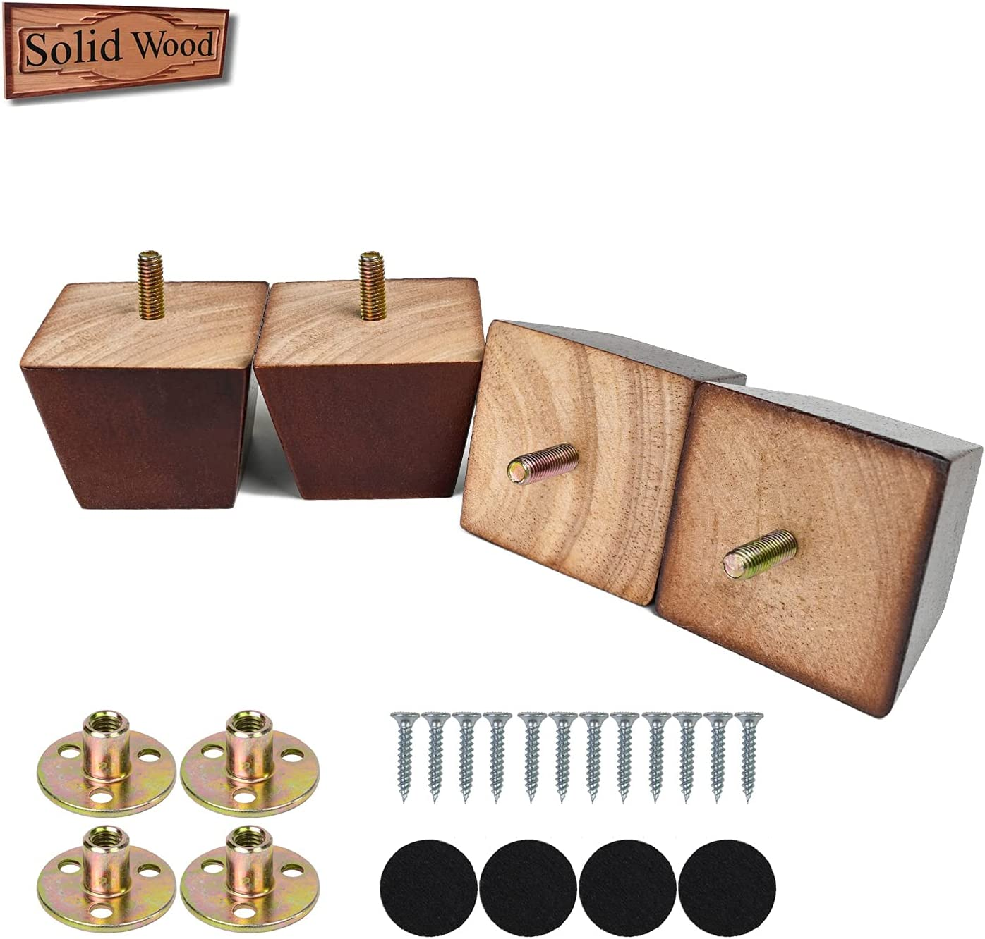 2 inch Sofa Legs Square Furniture Feet Wood Replacement Leg Set of 4 for Bed Couch Armchair Recliner with Pre-Drilled 5/16 Inch Bolt M8 & Mounting Plate & Screws