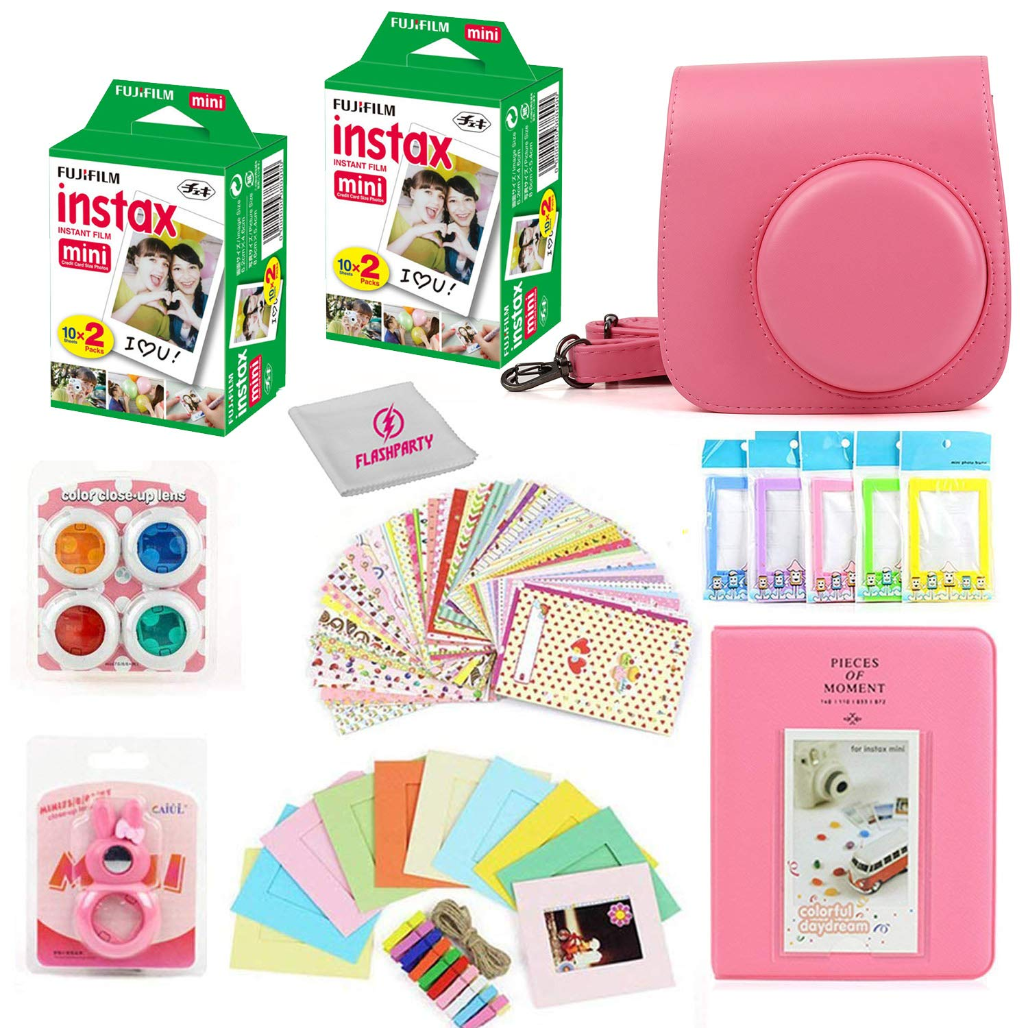 Fuji Instax Mini Instant Film Two Twin Packs (40 Sheets) + Protective Case + 40 Sticker Frames + Picture Frames + Photo Album + Microfiber Cleaning Cloth + More Accessories (Flamingo Pink) by Flash party