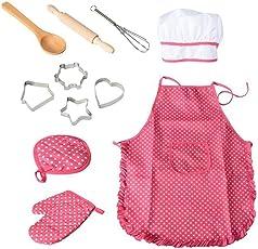 TOYMYTOY Conjunto DE 11 Piezas de Chef para Niños para cocinar y Jugar con Gorro de Cocinero y Utensilios de Cocina para Niños