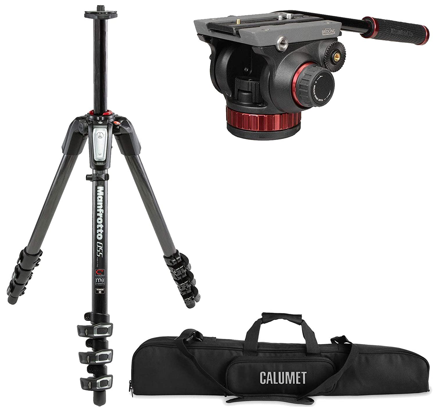 Manfrotto mt055cxpro4 055カーボンファイバー4-section三脚キットwith 502ビデオヘッドand a Calumetパッド入りケース   B013RNBQYA
