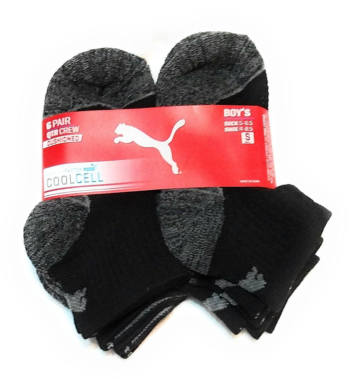 cheap Puma Boys 6pk Qtr Crew Cut Coolcell Athletic Socks, Black, Sock:5-6.5, Shoe:4-8.5 (S) for sale