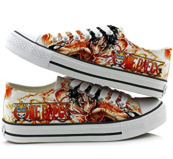 One Piece Portgas D Ace Cosplay Shoes Canvas Shoes Sneakers Colourful Low Cut 2