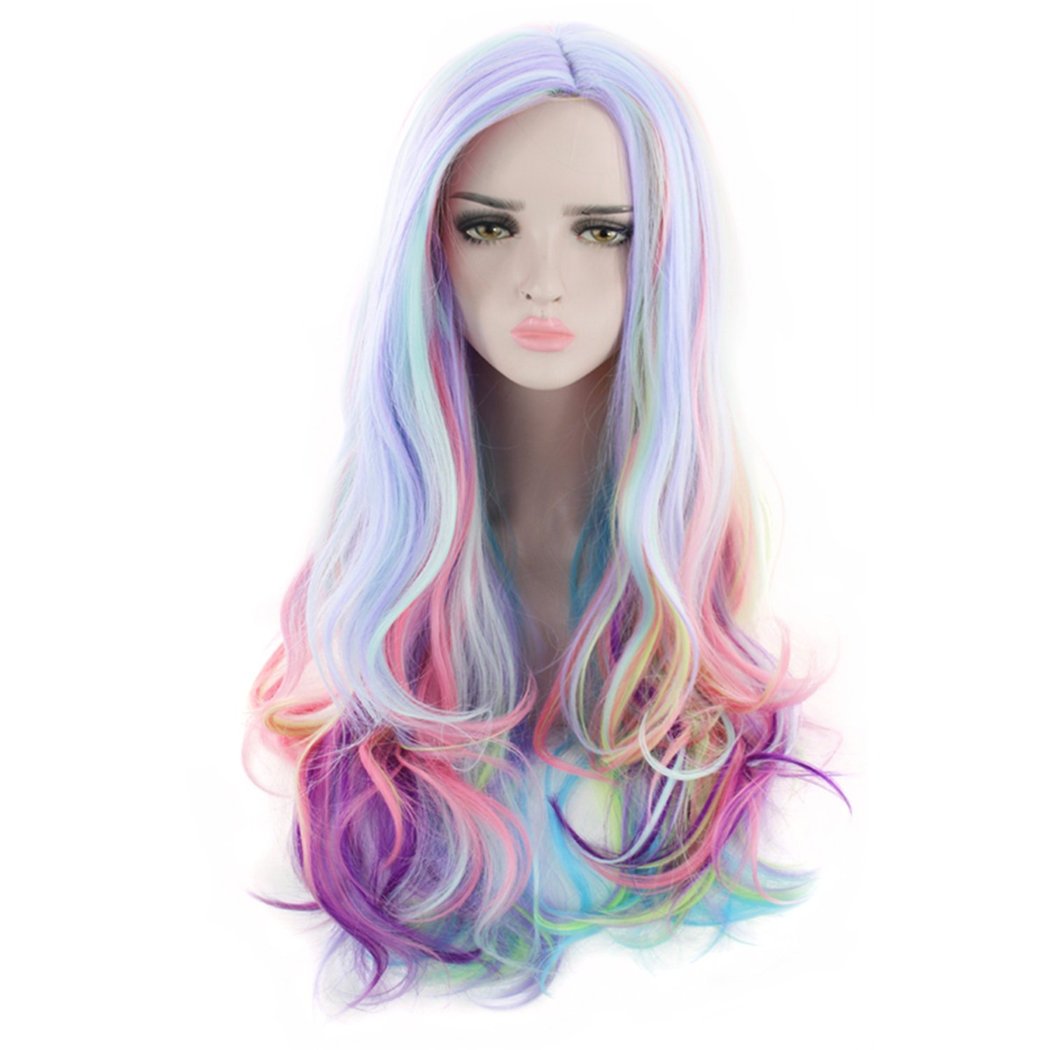 Amazon.com: AGPtEK Full Long Curly Wavy Rainbow Hair Wig, Heat Resistant Wig for Music Festival, Theme Parties, Wedding, Concerts, Dating, Cosplay & More: ...