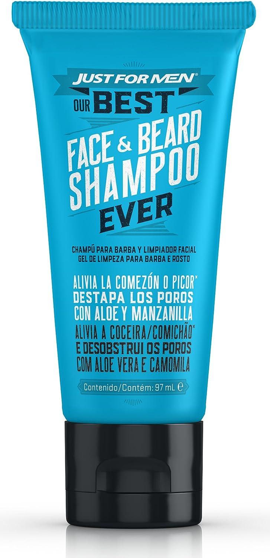 Just For Men, Champú Barba y Limpiador Facial, Cuidado Diario con Avena, Aloe, Manzanilla y Aceite de Jojoba, 97 ml
