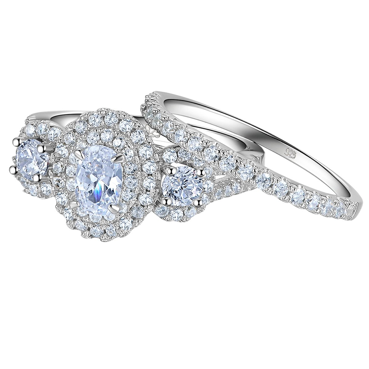 Newshe 1.8Ct Oval Three Stone White Cz Blue 925 Sterling Silver Wedding Engagement Ring Set Size 6