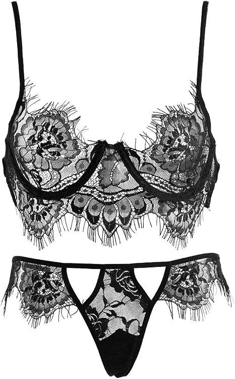 INCHOICE Lencería Sexy para Mujer Sujetador de Encaje y Panty Conjunto Ropa de Dormir Bustier Ropa Interior Traje Stretch Strappy (Negro, L): Amazon.es: Ropa y accesorios