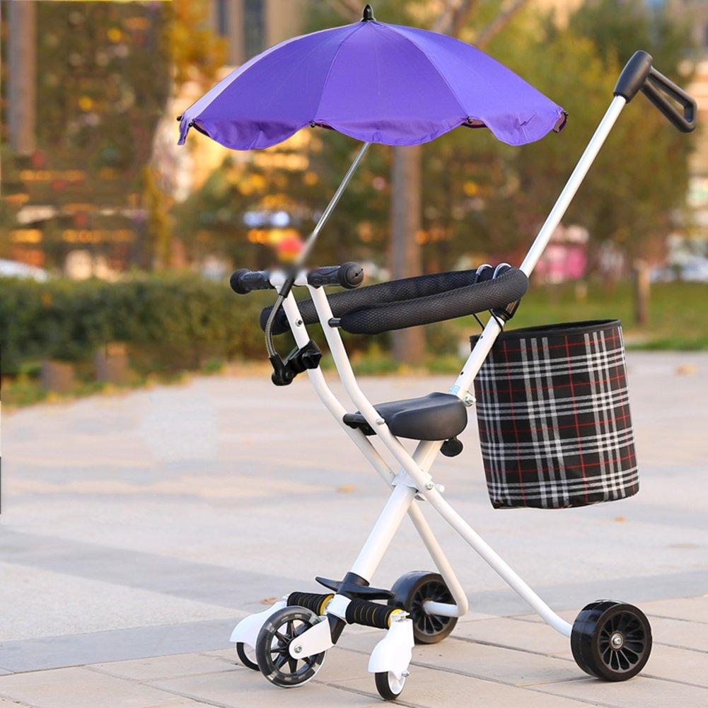Cochecito De Bebé Cinco Rondas Sombrillas Comodidad Simple Plegable 2-5 Años De Edad Trolley Para Niños ( Color : Blanco , Tamaño : Purple Umbrella )