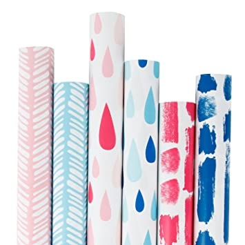 Amazon Com Ruspepa Gift Wrapping Paper Roll Pink And Blue Wrapping