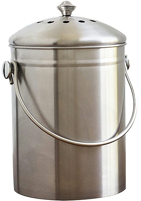 Bon Natural Home Stainless Steel Compost Bin