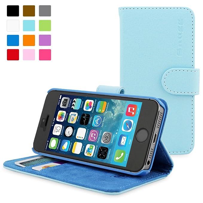 150 opinioni per Snugg, Custodia di cuoio con garanzia a vita per iPhone 5 e 5s, blu