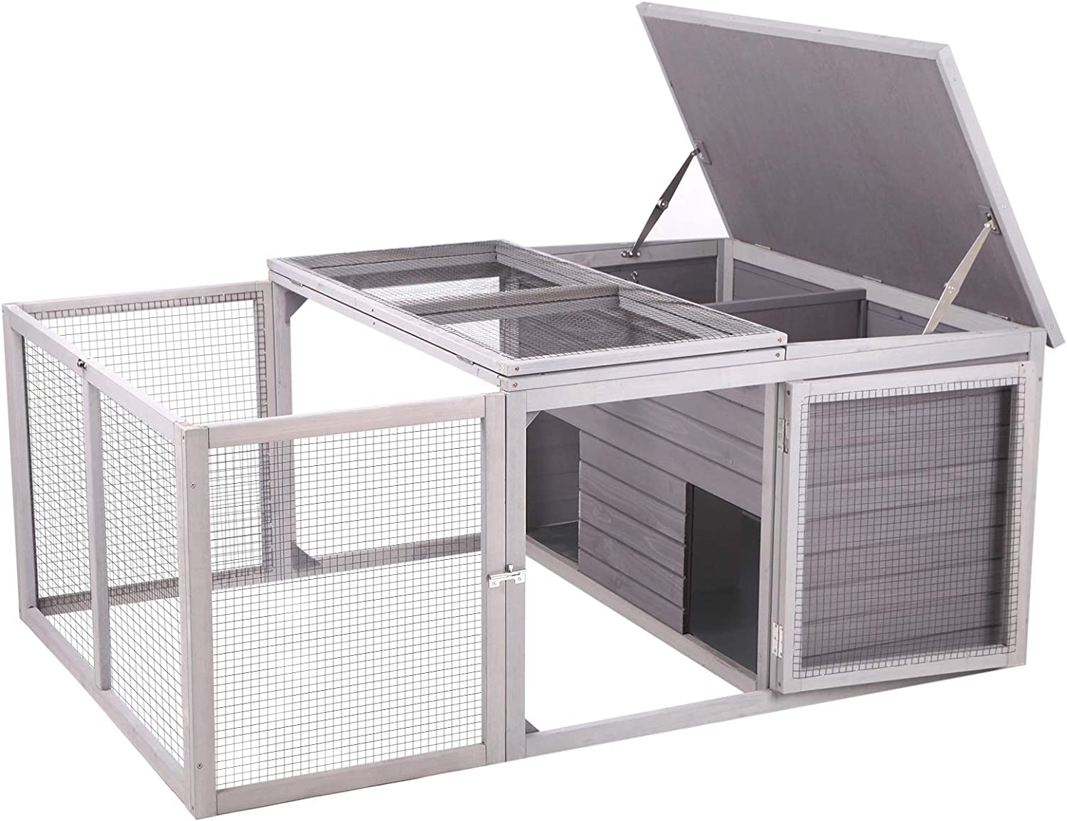 Poultry House Nesting Box Cages with Metal Trays and Feeding Habitat for Easy Cleaning,Black