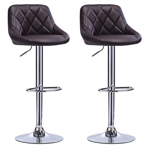 Woltu BH16br 2 X Faux Leather Brown Bar Stools With Arms