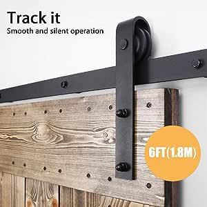 CCJH 6FT/1.83M Herraje para Puerta Corredera Kit de Accesorios para Puertas Correderas, Contiene Guía de suelo ajustable: Amazon.es: Bricolaje y herramientas