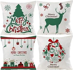 Wilproo Christmas Green Deer Decorative Throw Pillow Covers Soft Pillowcases Cotton Linen Cushion Cover Cases, Xmas Decor Pillowcase for Sofa/Bedroom/Car 18x18 Inch