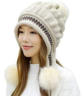 E.Joy Online Women Peruvian Earflap Beanie Hat Knitted Pom Winter Snow Ski Hat  Ladies 18c9a50052