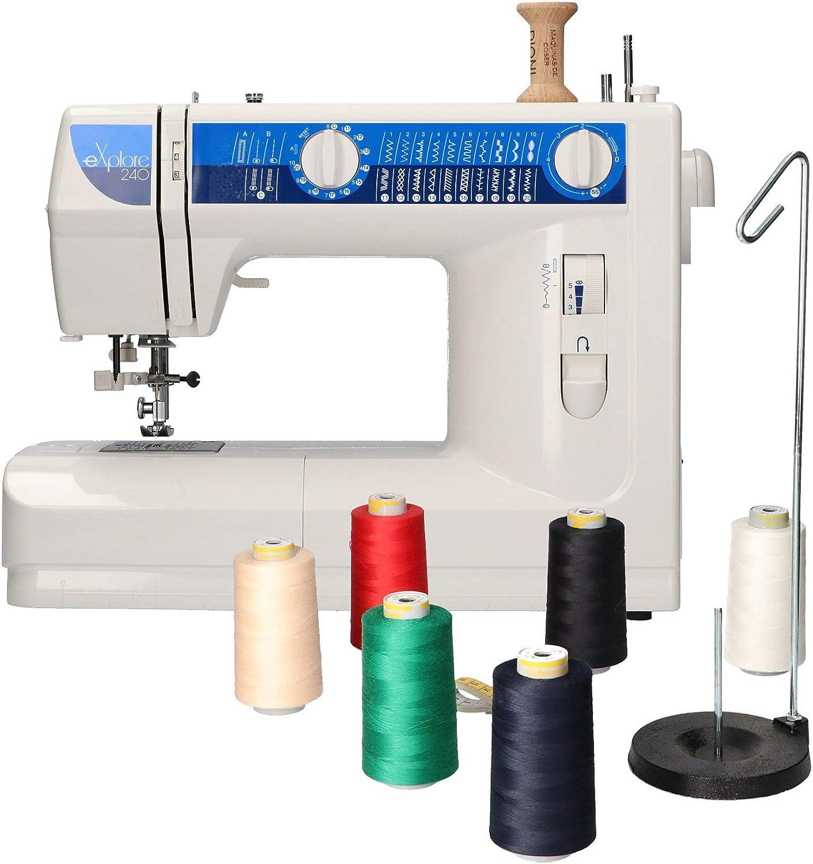 Elna 240 maquina de coser con kit costura Dioni 6 conos 5000metros con Porta conos y Cinta métrica: Amazon.es: Hogar