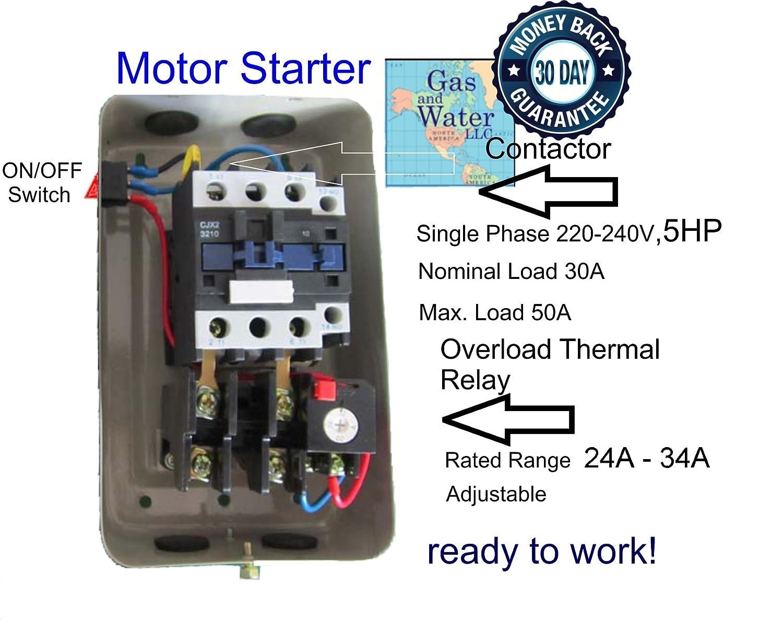 new magnetic motor starter control for electric motor compressor new magnetic motor starter control for electric motor compressor 5hp 1ph 230v 34 amp amazon com