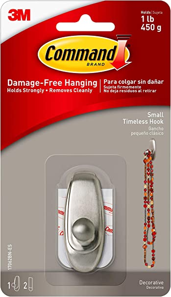 Command Small Timeless Hook, Brushed Nickel, 1-Hook, 2-Strips, Decorate Damage-Free