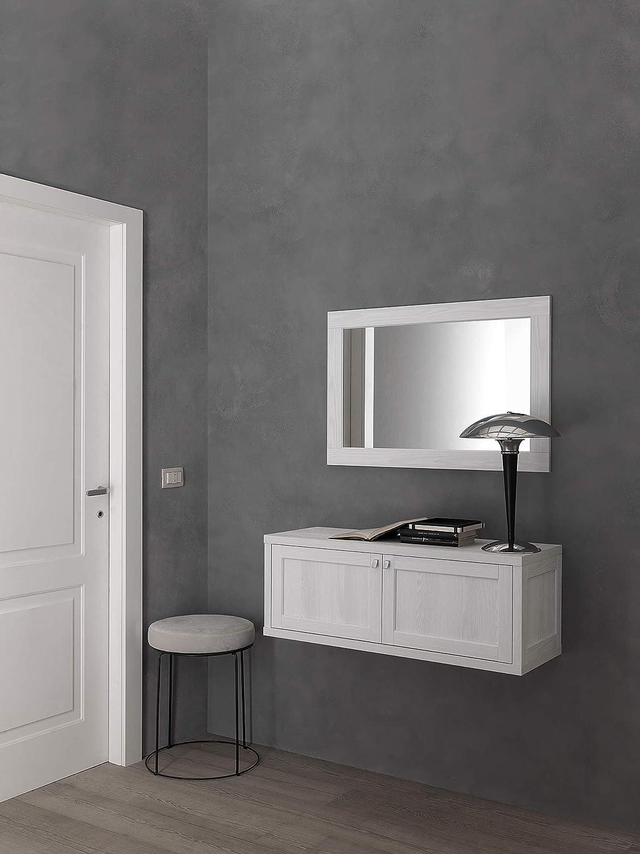 Made in Italy ARHome Mobile Ingresso Sospeso Pensile Soggiorno Consolle 100 x 35 x 37 Bianco Frassinato