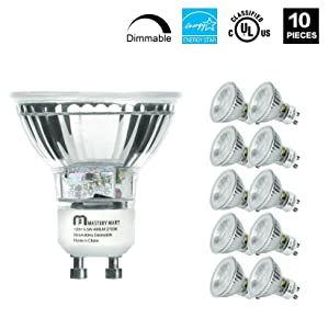 LED GU10 Spotlight Light Bulbs, 50 Watt Equivalent, 5.5W Dimmable, MR16 Full Glass Cover, 2700K Soft White, 25000 Hours, UL Listed, Energy Star Certified, by Mastery Mart (Pack of 10)