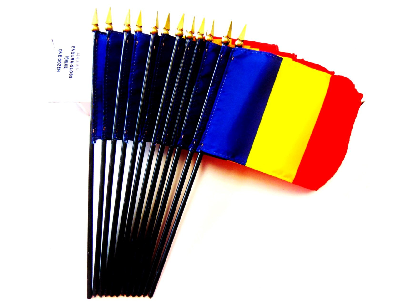 MADE IN USA!! Box of 12 Romania 4''x6'' Miniature Desk & Table Flags; 12 American Made Small Mini Romanian Flags in a Custom Made Cardboard Box Specifically Made for These Flags