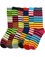 Fun & Colorful Bright Striped Ladies Assorted 6 Pack Crew Socks
